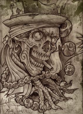 woodoo skull dessin