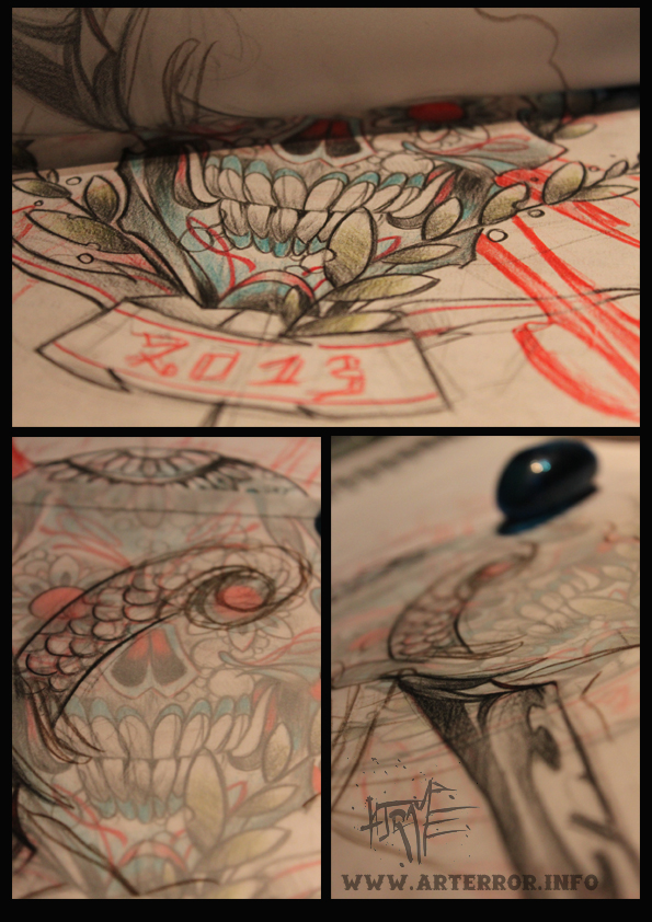montage sketch mexican skull