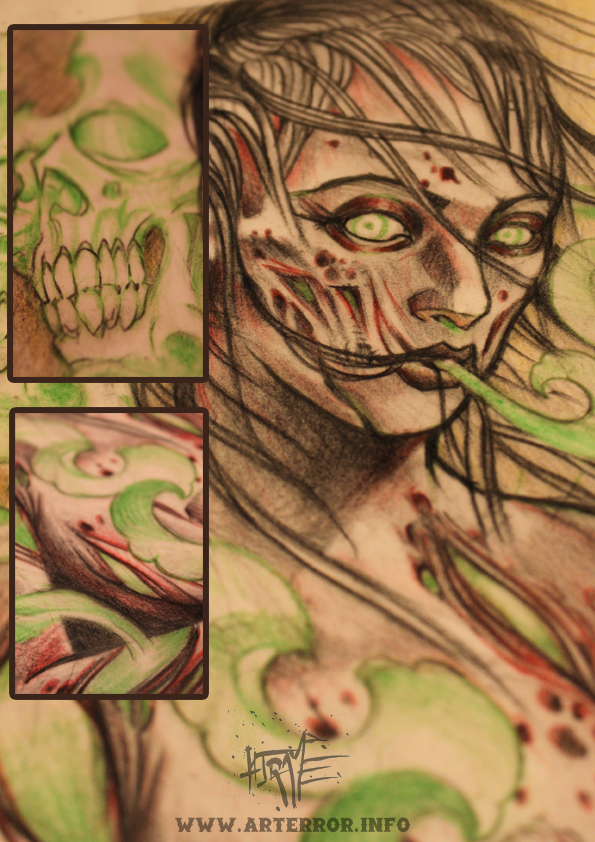 montage sketch zombie green